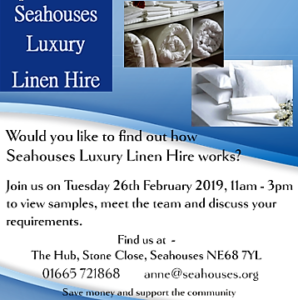 Seahouses Luxury Linen Hire - Open Day @ The Hub, Seahouses Sports & Community Centre